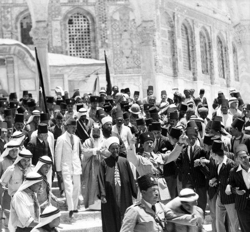 King Abdullah I of Jordan (at right in white kaffiya) and his brother King Feisal of Iraq (in white suit) at the al-Aqsa mosque and Dome of the Rock in Jerusalem, Palestine, circa 1933 (Library of Congress)68