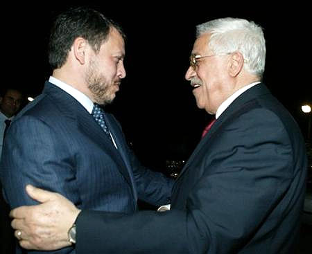 Jordan's King Abdullah and the Palestinian Authority's Abu Mazen in 2005.