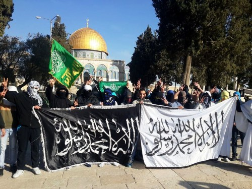 Murabitoun demonstrators on the Temple Mount