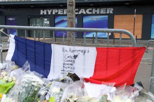 Makeshift memorial outside of Kosher Hyper Cacher Market in Paris, January, 2015
