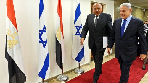 Egyptian Foreign Minister Sameh Hassan Shoukry and Prime Minister Netanyahu in Jerusalem, July 10, 2016 (GPO)