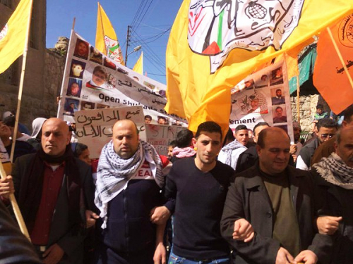 A sparse Fatah demonstration in Hebron, February 28, 2015
