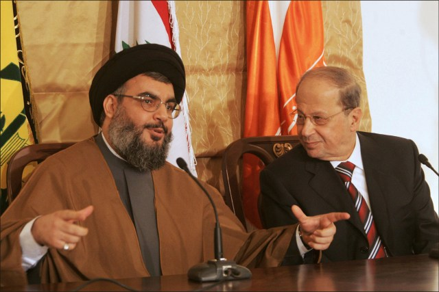 Hizbullah leader Hassan Nasrallah with Lebanese president Michel Aoun