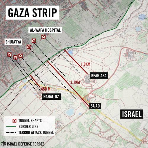 Map of Hamas' tunnel system in 2014.