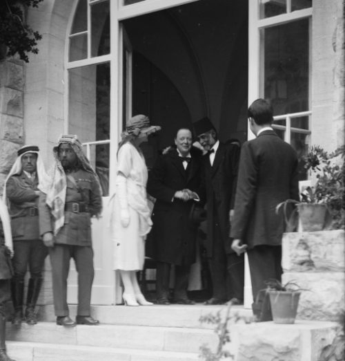 Winston Churchill receiving Mousa Kasim Pasha el Husseini at reception at Government House, Jerusalem.