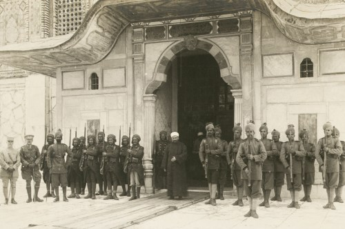 Moslem Indian Guard at the Mosque of Omar (Dome of the Rock), 1917.