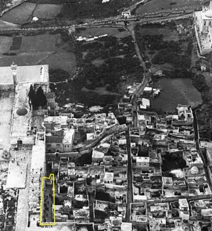 Aerial photo of Jerusalem's Mughrabi section