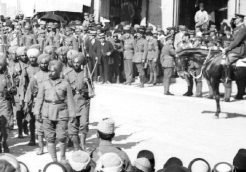General Allenby on his horse saluting the Indian troops outside of Jerusalem's Jaffa Gate on December 11, 1917