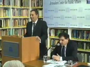Nisman and Perednik addressing the Jerusalem Center in 2007.