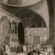 A Synagogue in Jerusalem, illustration, circa 1860.