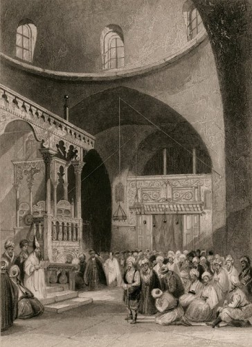 A Synagogue in Jerusalem, illustration, circa 1860.