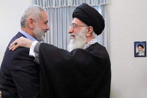 Hamas leader Ismail Haniyeh with Iran's Supreme Leader Ali Khamenei