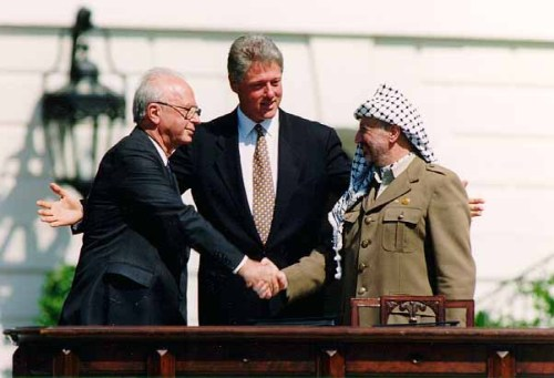 Bill Clinton, Yitzhak Rabin, Yasser Arafat at the White House in 1993