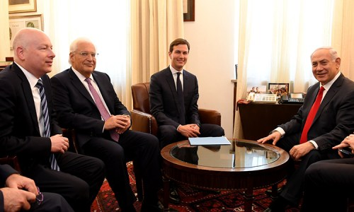 Jason Greenblatt, Ambassador David Friedman, and Jared Kushner with Prime Minister Netanyahu