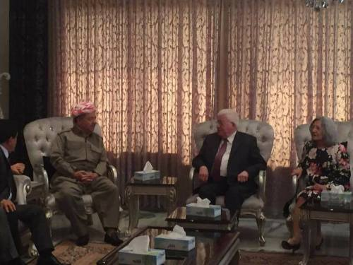 Masoud Barazani meeting with the widow of Jalal Talabani and Fuad Masum