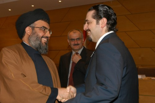 Hizbullah leader Nasrallah (left) and Saad Hariri (right)