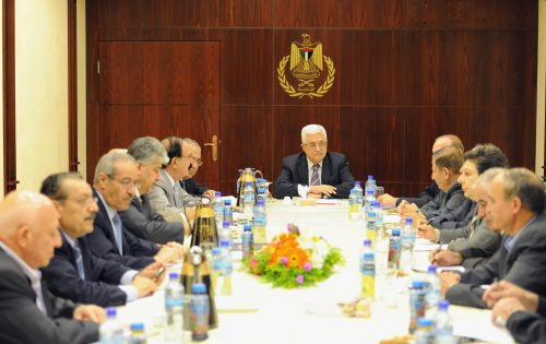 Mahmoud Abbas with his senior officials, in 2015