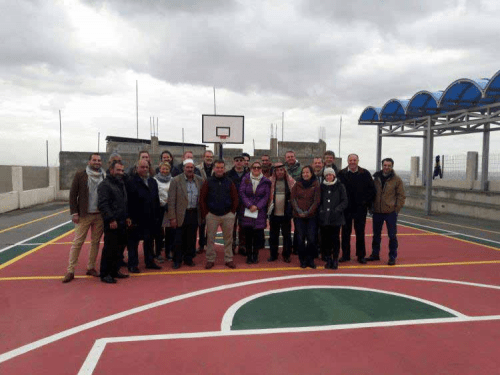 EU officials visiting a playground in Area C of the West Bank