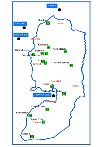 Map of Israeli industrial zones in the West Bank