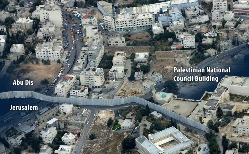 Aerial photograph of the Palestinian National Council Building astride the Abu Dis and Jerusalem boundary. (Getty)
