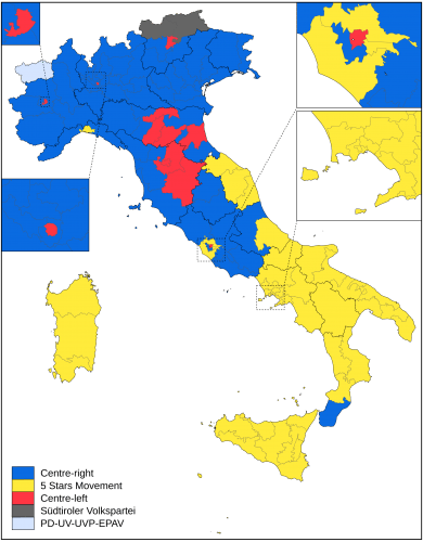 Winning candidates for the Italian Senate