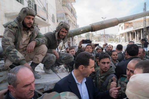 President Bashar Assad in Ghouta on March 18, 2018