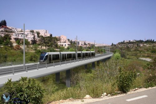 Projected view of the Jerusalem light rail's green line.