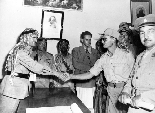 Commander of Israel's Jerusalem Brigade, Col. Moshe Dayan, right, and Arab Legion Commander Abdullah Bey El-Tel