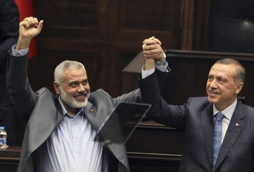 Ismail Haniyeh and Recep Tayyip Erdogan