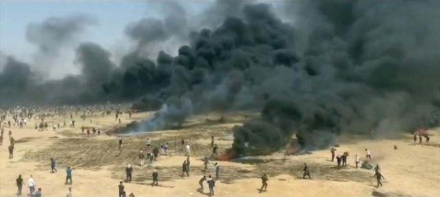 The Gaza assault on Israel's border fence.