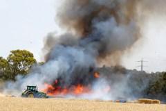 Israeli wheat and hay fields set ablaze along the Gaza border fence