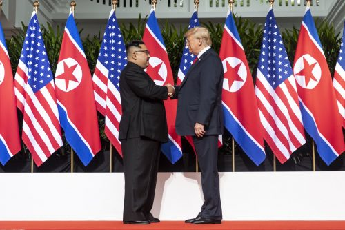 President Donald J. Trump meets with North Korean Leader Kim Jong Un in Singapore, June 12, 2018