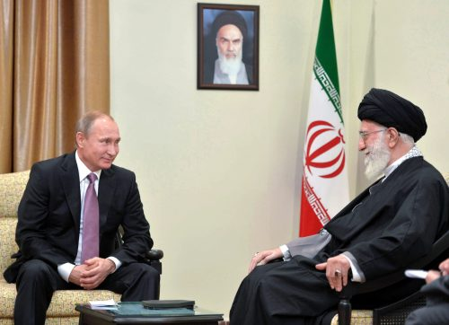 Russian President Putin meets with Iran's Supreme Leader Ayatollah Mohammed Khatami in 2015