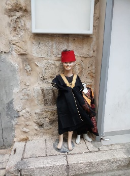 Turkish fashion mannequin on a street in the Old City.