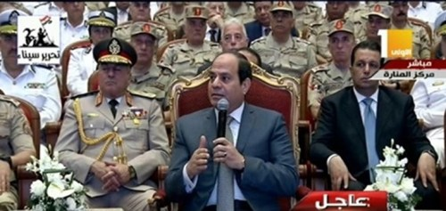 """President Sisi speaking to the Egyptian Armed Forces to commemorate the """"1973 Sinai Liberation"""""""