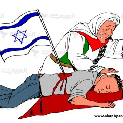 Cartoon that shows a mother caressing her dead son whose body lies across a map of Palestine