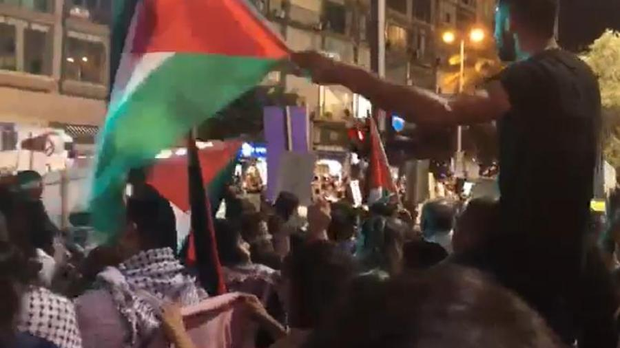 The Pan-Arab Palestinian Flag Hoisted in Tel Aviv