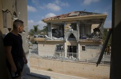 The house that was hit by a rocket fired from the Gaza Strip, in the city of Beersheba, southern Israel, October 17, 2018.