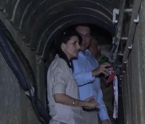 Nikki Haley, inspects a Hamas tunnel