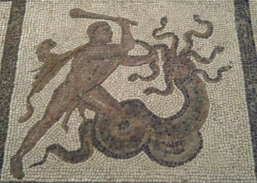 Hercules and the Lernaean Hydra, 3rd century Roman mosaic