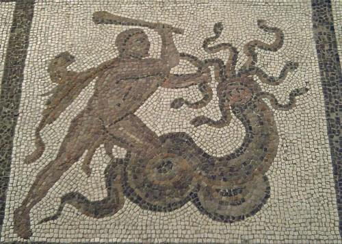 Hercules and the Lernaean Hydra, 3rd century Roman mosaic