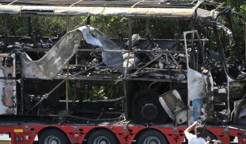 The tour bus that was destroyed by a bomb in July 2012 at Burgas Airport in Bulgaria.