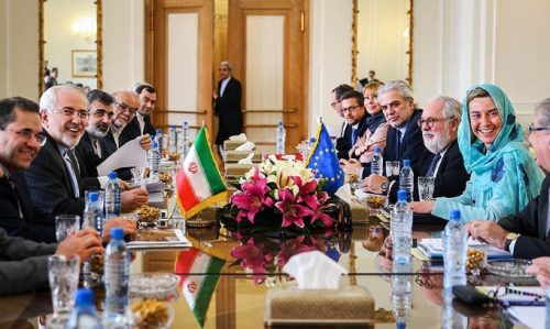 Federica Mogherini and an EU delegation meet in Tehran with Iranian Minister of Foreign Affairs Mohammad Javad Zarif and senior Iranian officials