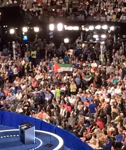Palestinian flags flying at the 2016 Democratic Party Convention