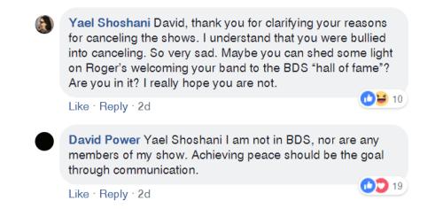David Power Facebook comment