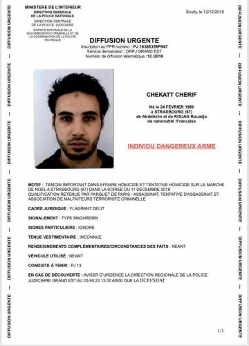 Wanted poster for Strasbourg terrorist