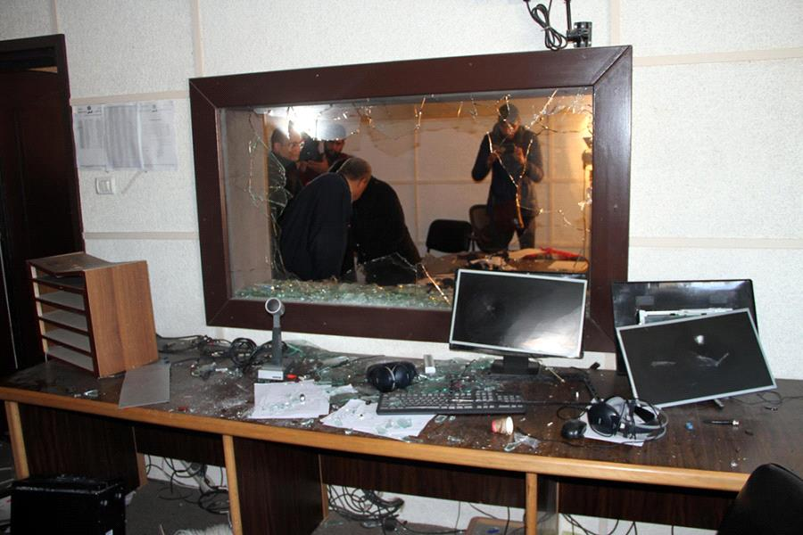 Destruction in the Gaza studio of Palestine TV offices