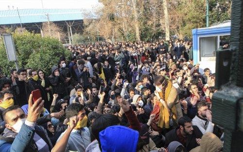 University students protesting inside Tehran University.