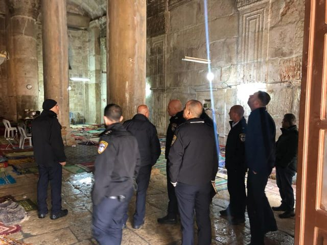 Israeli police officials inspect the Golden Gate chamber