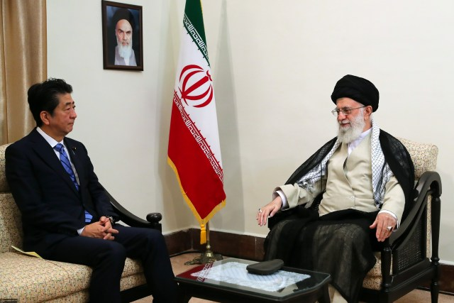 Shinzo Abe and Ayatollah Ali Khamenei